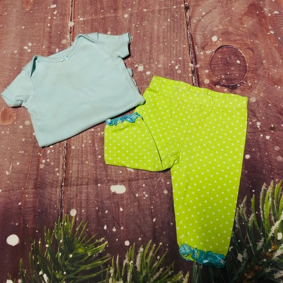 Nannette Other - Green Polka Dot Leggings & Blue Onesie Set